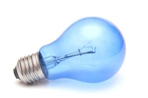 Blue light bulb.